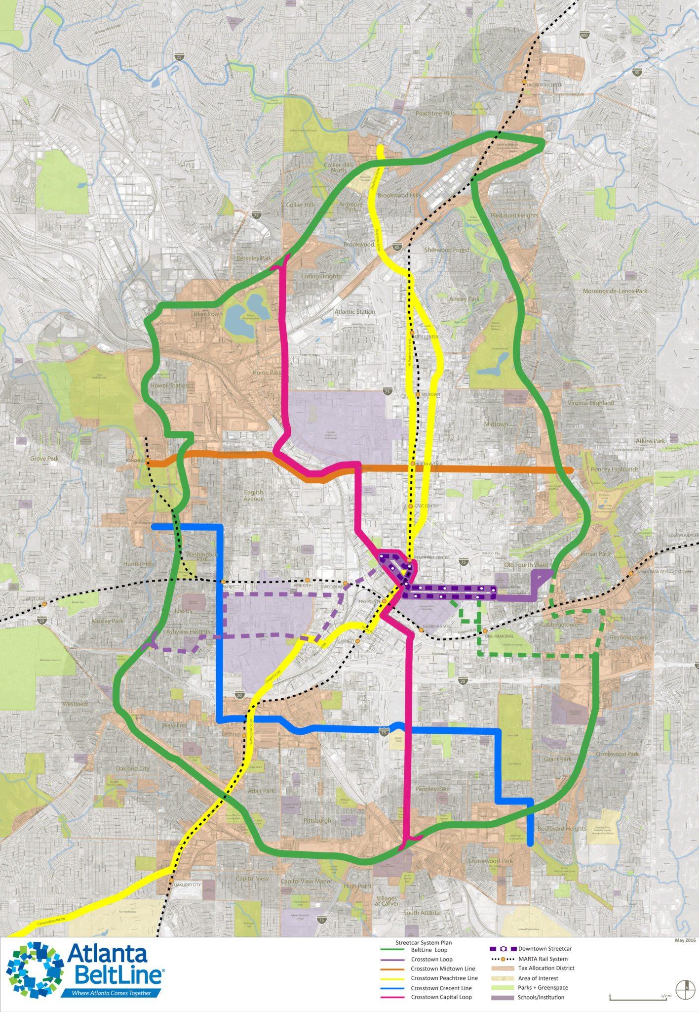 including the Atlanta BeltLine Loop, Crosstown Loop (including the  current Atlanta Streetcar), Crosstown Midtown Line, Crosstown Peachtree Line,