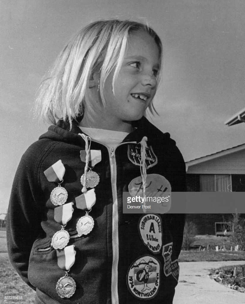 Kathi Hedlund Bemedaled Swimmer at 6 Credit Denver Post
