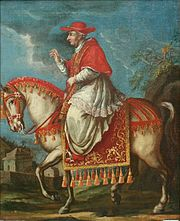 Pope Benedict XIII travelling on horseback.