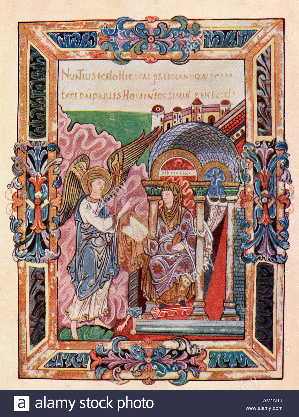 Facsimile of a page from the Ethelwold Benedictional showing the  Annunciation