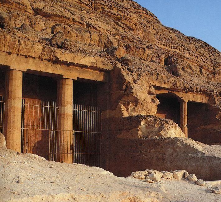 Beni Hasan exterior tomb exterior columns, carved off the sandstone