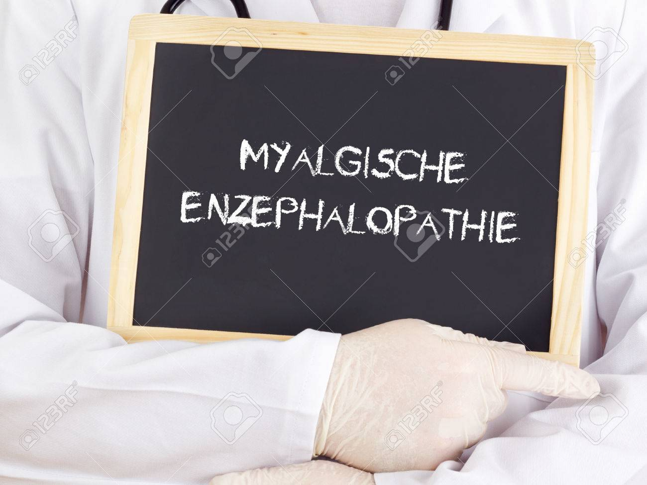 Doctor shows information: benign myalgic encephalomyelitis Stock Photo -  33318786