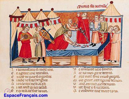 Enluminure extraite du Roman de Troie (1160) de Benoît de Sainte-Maure.  (Bibliothèque nationale de France, Paris)
