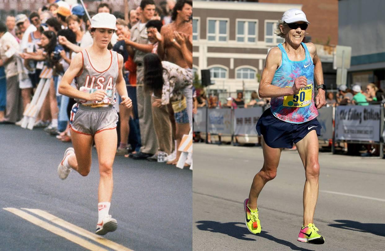 Joan Benoit Samuelson during her gold-medal run at the 1984 Olympics, left,
