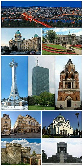 Belgrade montage. Clicking on an image in the picture causes the browser to  load the