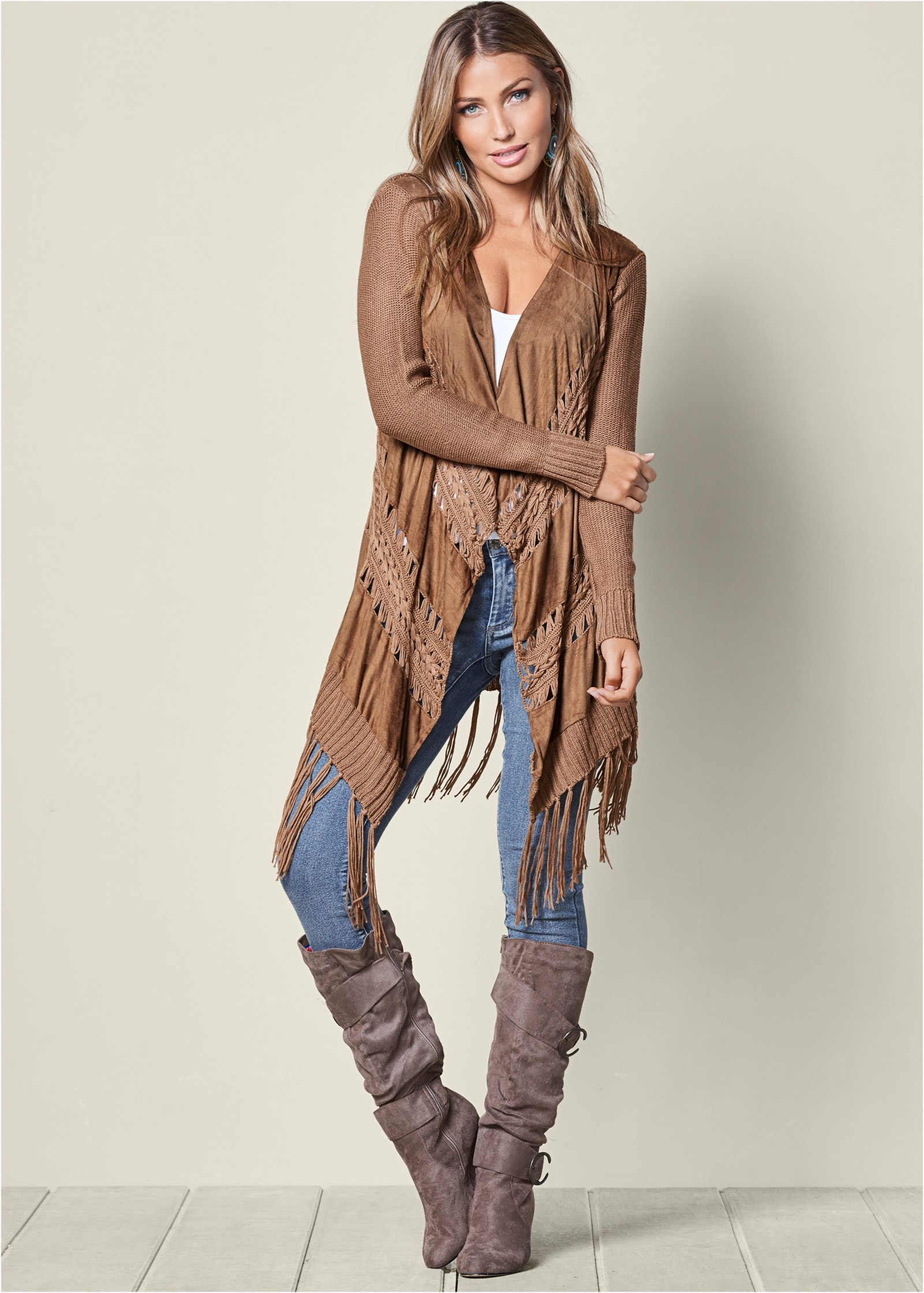 FAUX SUEDE FRINGE CARDIGAN,SEAMLESS CAMI,COLOR SKINNY JEANS