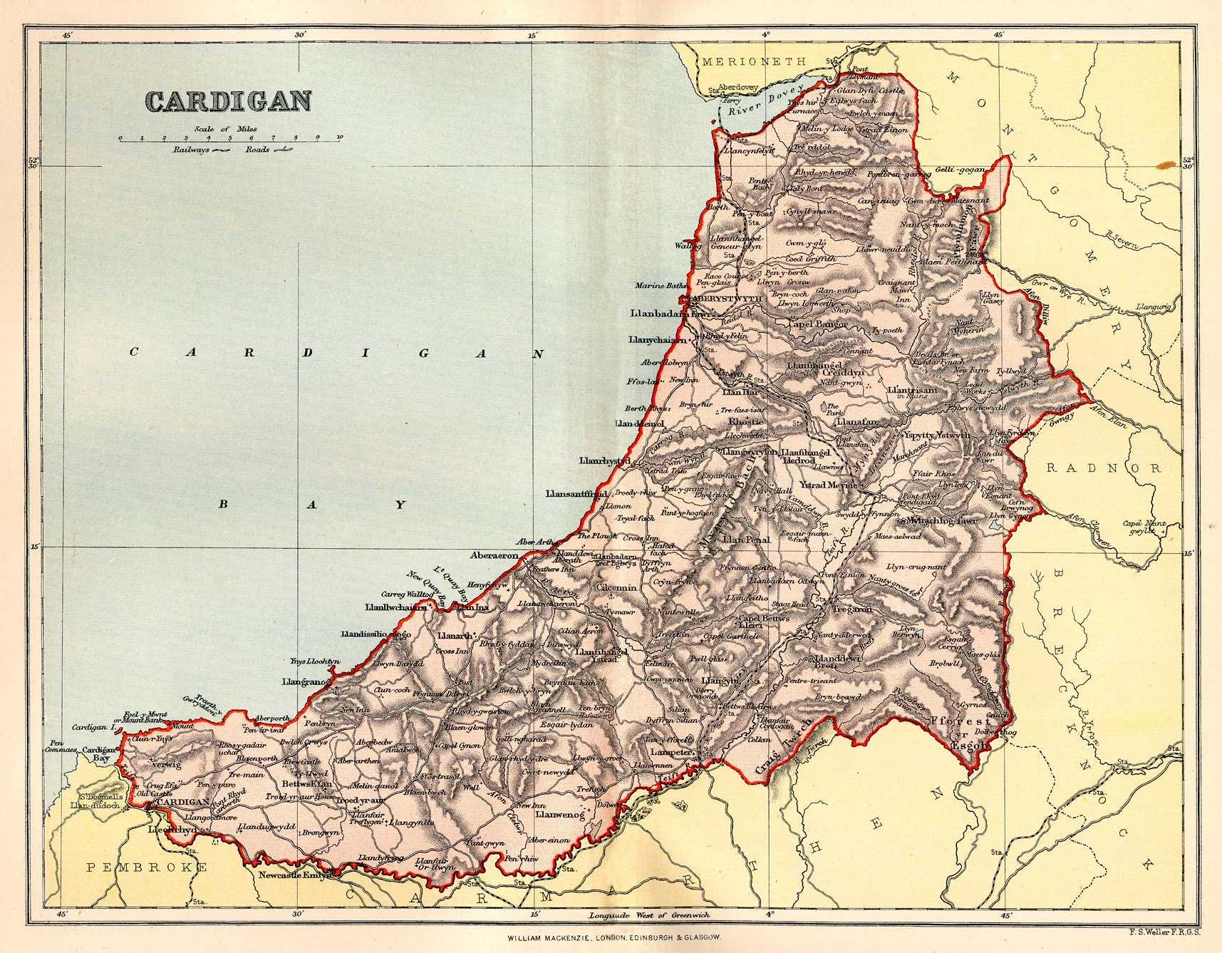 Map of Cardiganshire