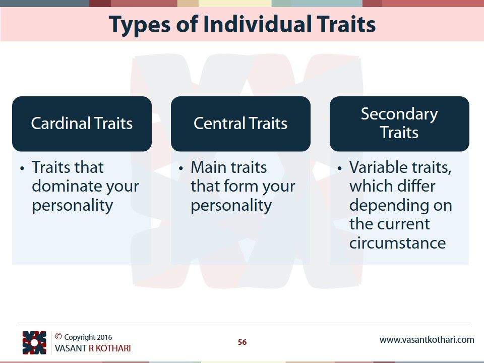 Types of Individual Traits Cardinal Traits Traits that dominate your  personality Central Traits Main traits that form your personality Secondary  Traits
