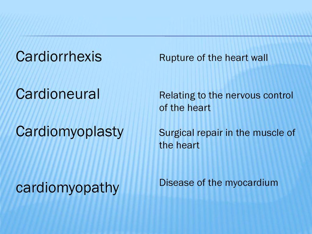 Cardiorrhexis Cardioneural Cardiomyoplasty cardiomyopathy