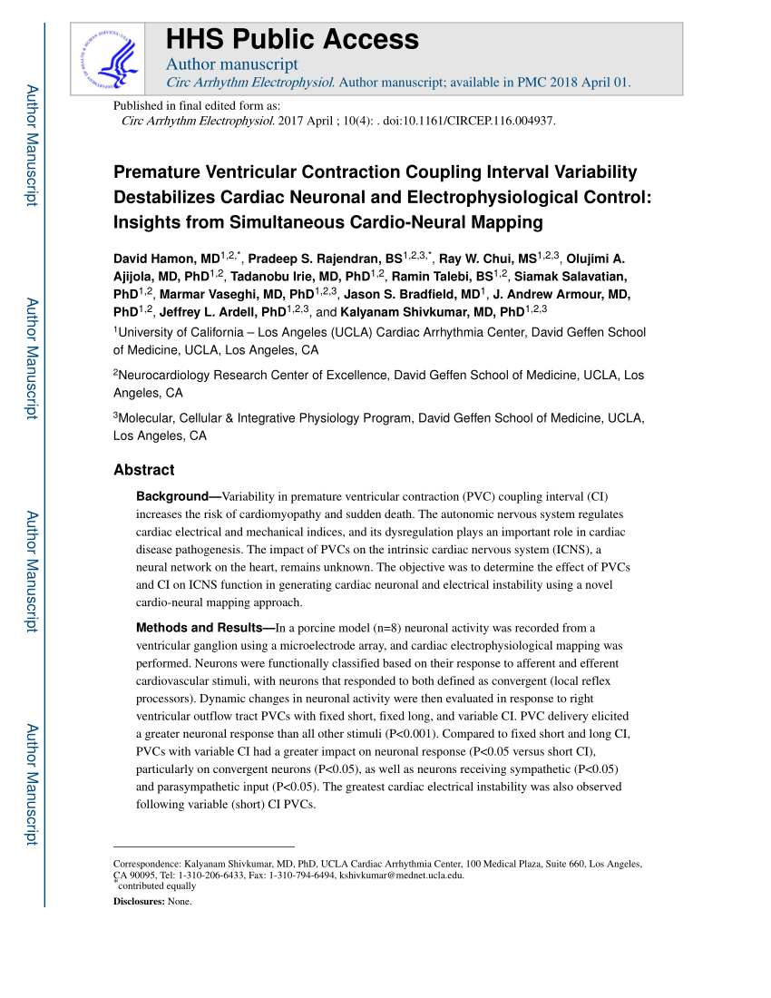 (PDF) Premature Ventricular Contraction Coupling Interval Variability  Destabilizes Cardiac Neuronal and Electrophysiological Control