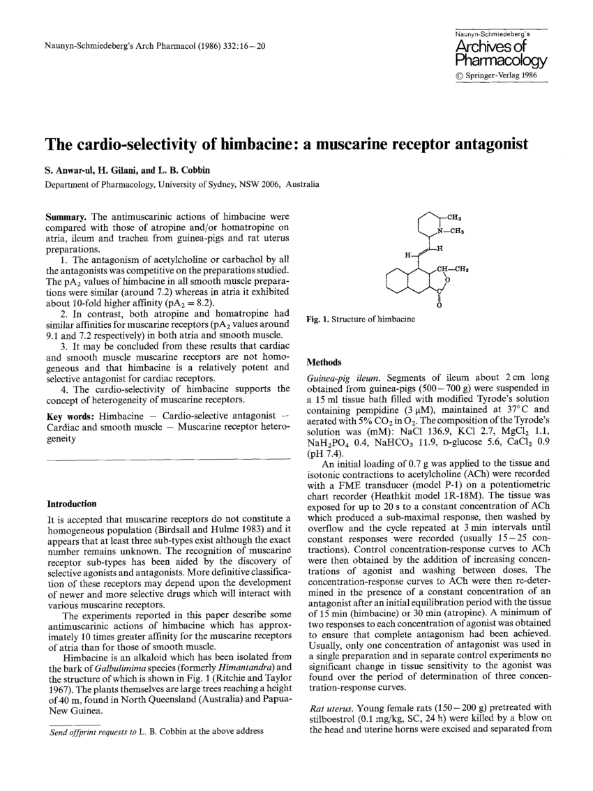 (PDF) The cardio-selectivity of himbacine: a muscarine receptor antagonist