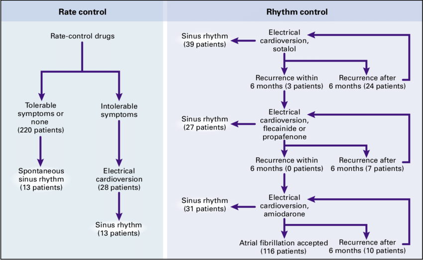 With the rate-control strategy, electrical cardioversion was allowed if  ventricular rate-controlling drugs were associated with intolerable  symptoms.