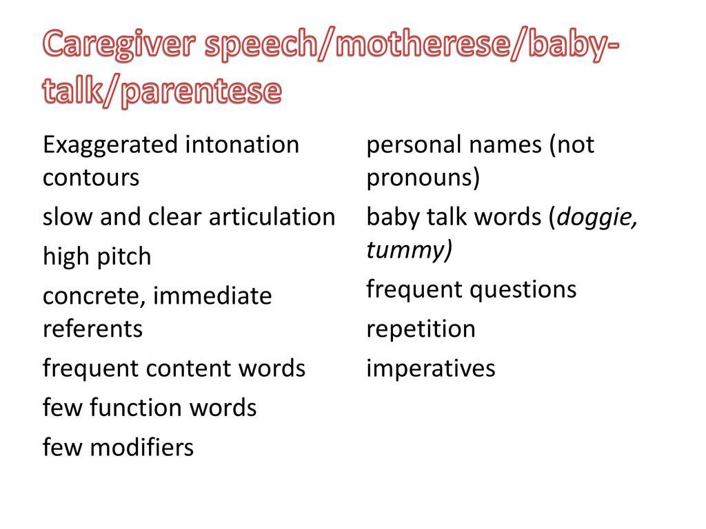 caregiver speech