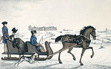 Governor of Red River, Andrew Bulger, driving his family on the frozen Red  River in a horse cariole with Fort Garry in the background (1822-23)