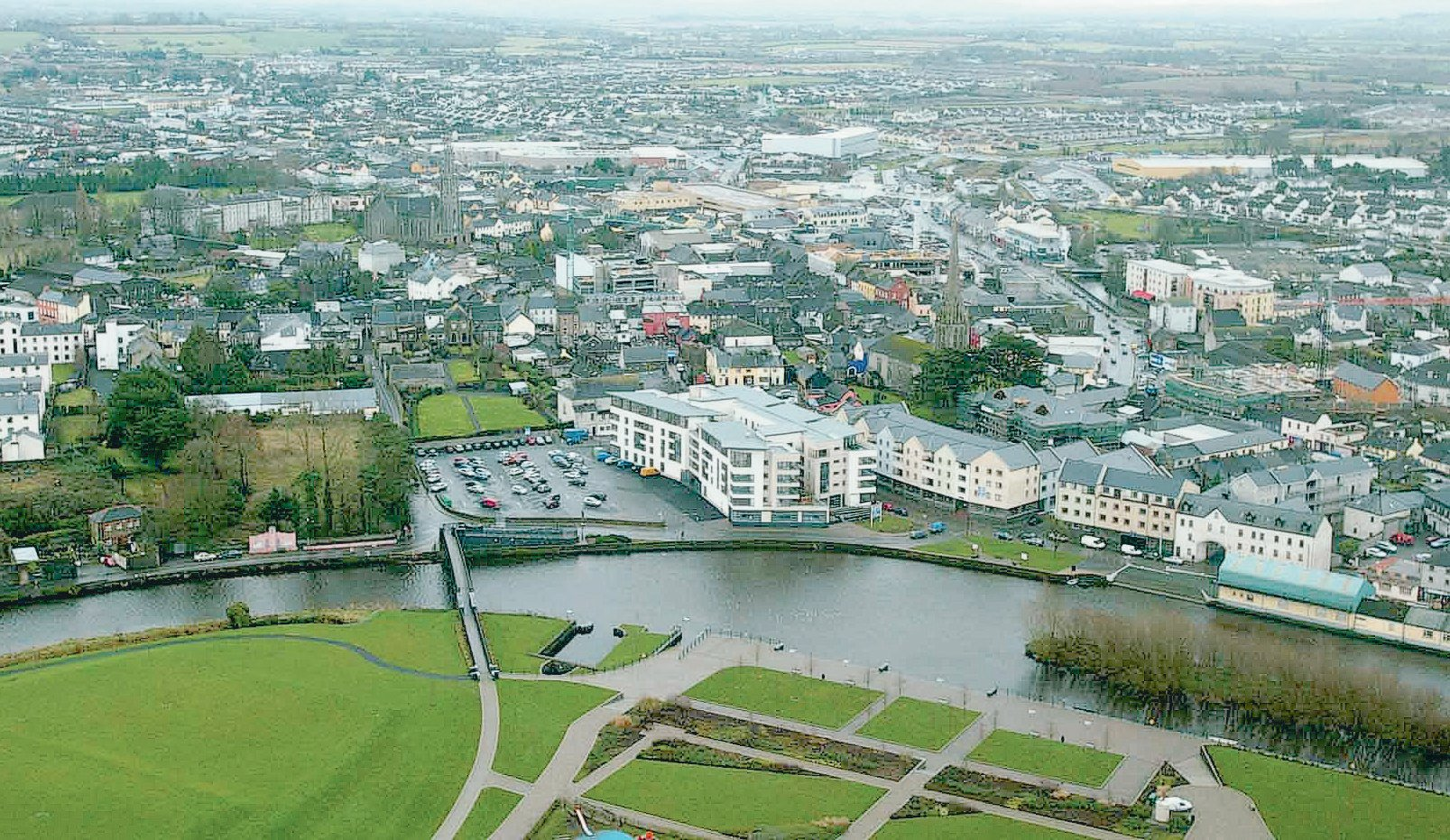 Aerial view of Carlow as published in The Irish Times 15 Feb 2007