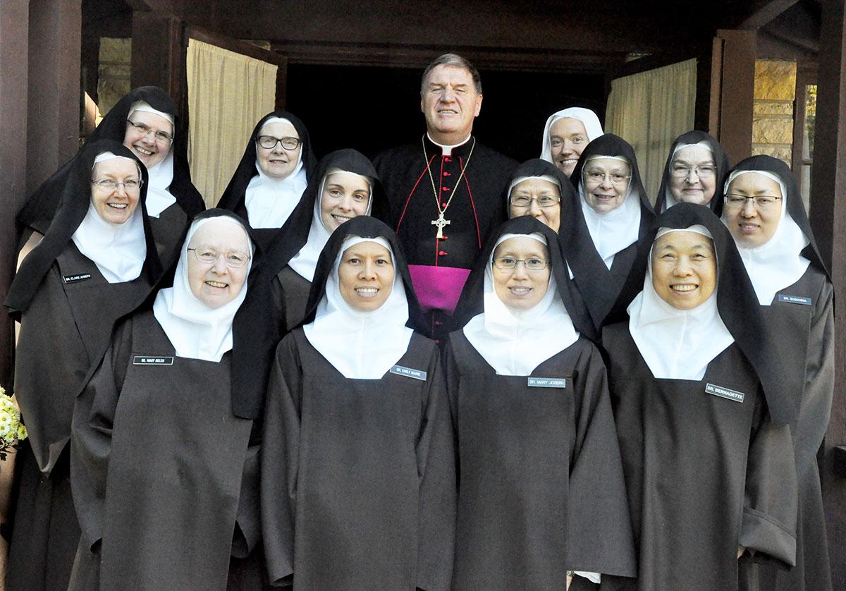 Members of the Discalced Carmelite Monastery of St. Joseph in Terre Haute  pose on Oct