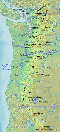 Map of the Cascade Range showing major volcanic peaks