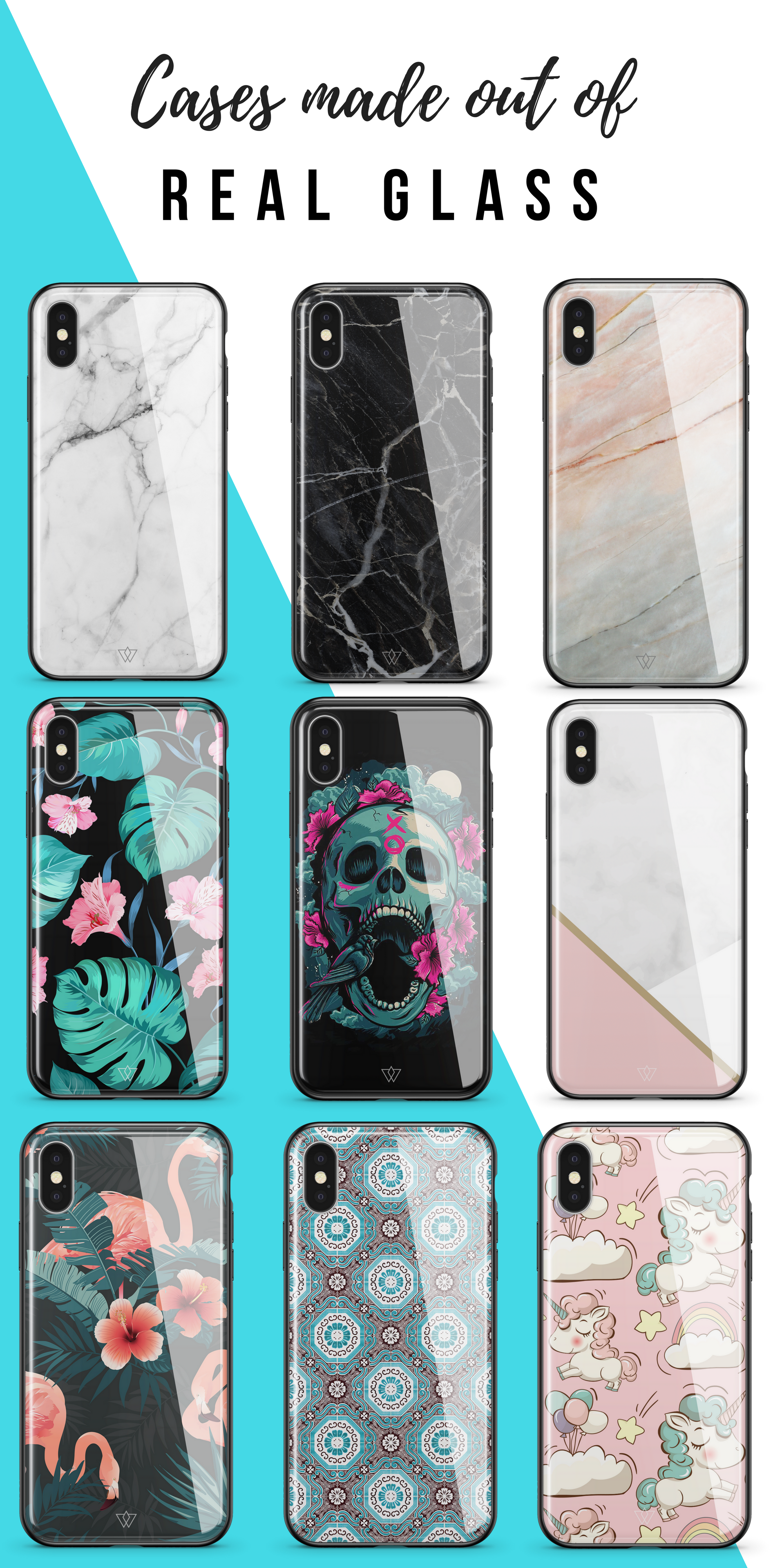 [50% OFF - £19.95] Cases made out of REAL GLASS: Available for All iPhone  Models. Designed in London, all unique designs are carefully printed  underneath