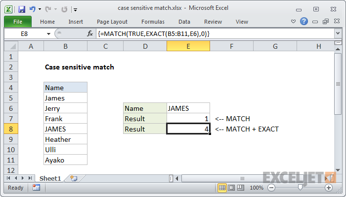 Excel formula: Case sensitive match