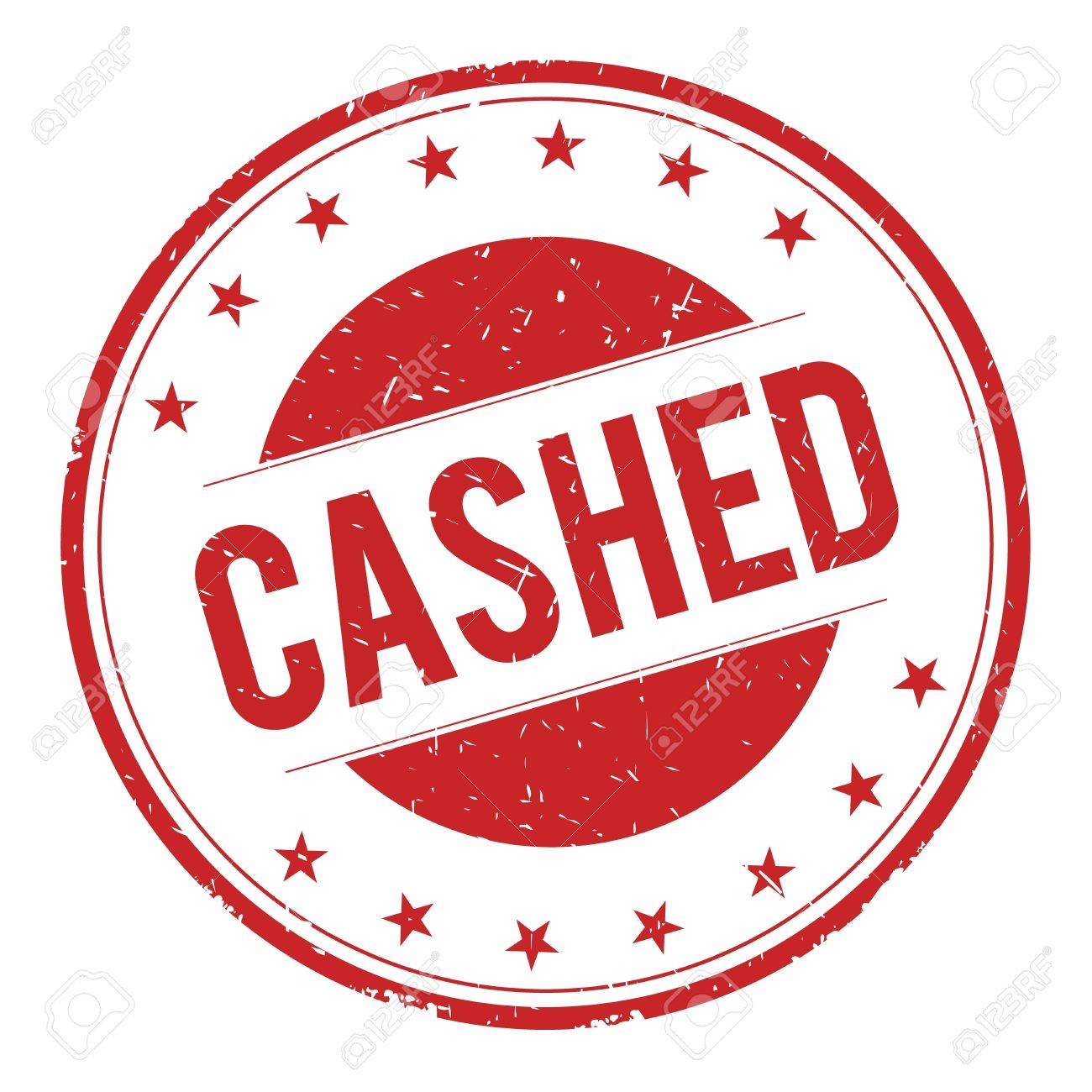 CASHED stamp sign text word logo red. Stock Photo - 67602143