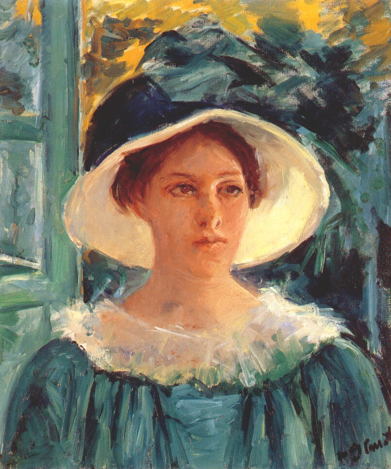 Archivo:Cassatt Mary Young Woman in Green, Outdoors in the Sun 1914.jpg