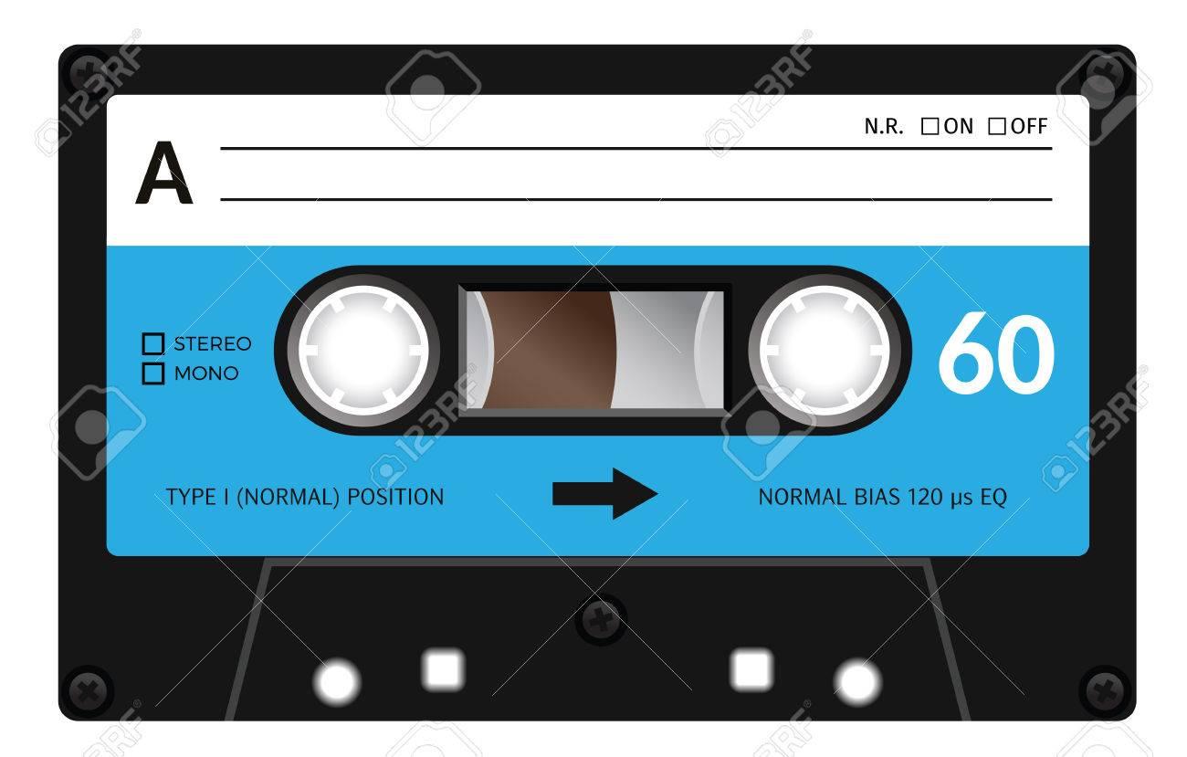 Casete retro plástico de audio, música en cassette, cinta de cassette.  Aislado en