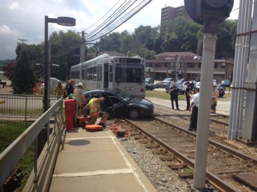 1 injured in crash between car, light-rail train in Castle Shannon
