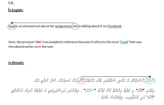 examples in English and Dhivehi