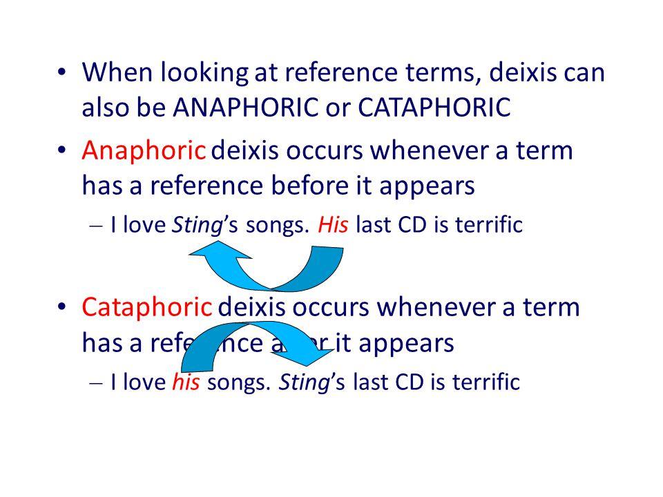 Anaphoric and cataphoric references in pragmatics