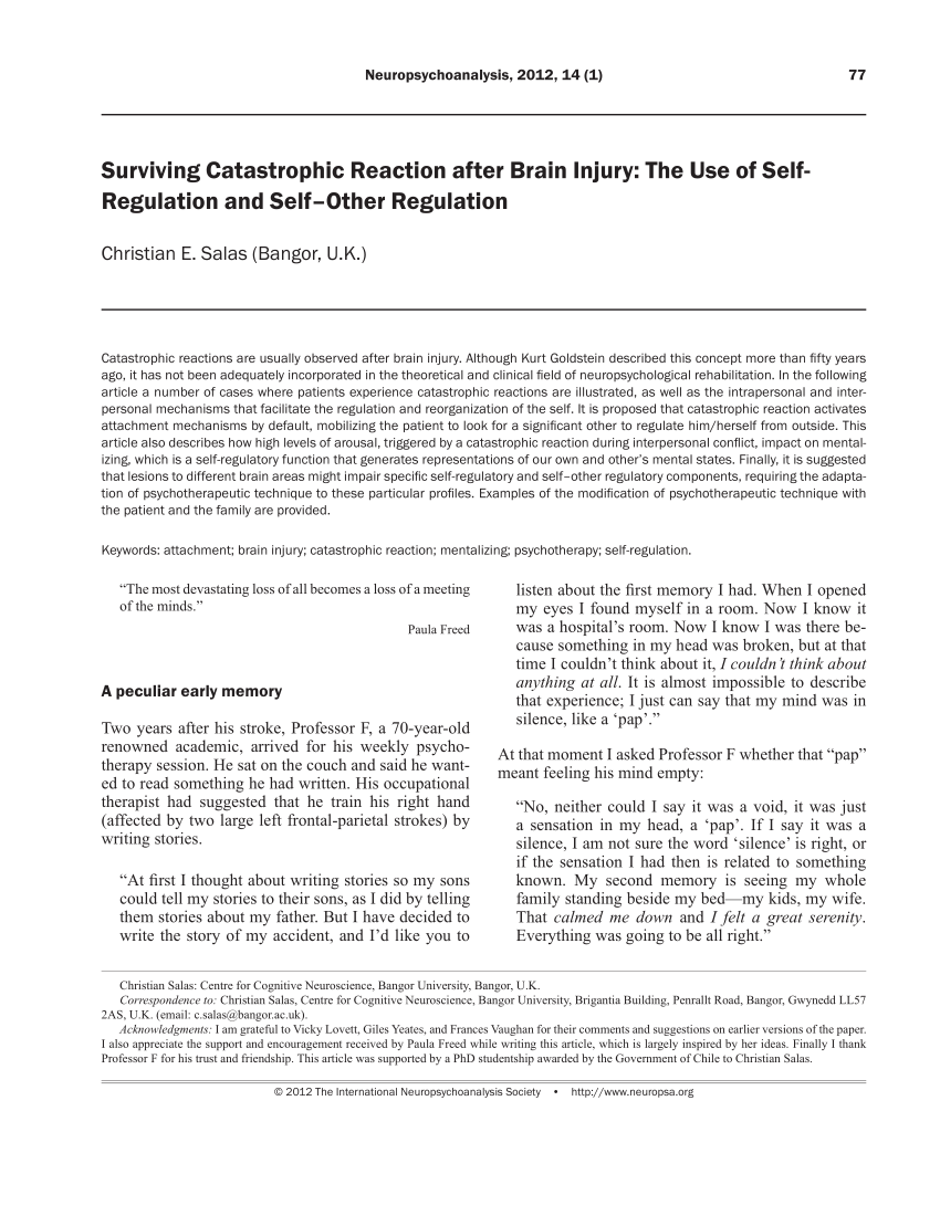 (PDF) Surviving Catastrophic Reaction after Brain Injury: The Use of Self-  Regulation and Self–Other Regulation