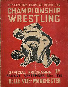 La imagen se está cargando Catch-As-Catch-Can -Championship-Wrestling-programa-1938-