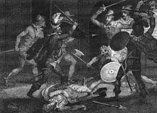 Percy y Catesby encuentran la muerte al intentar escapar de Holbeach, por  un artista anónimo.