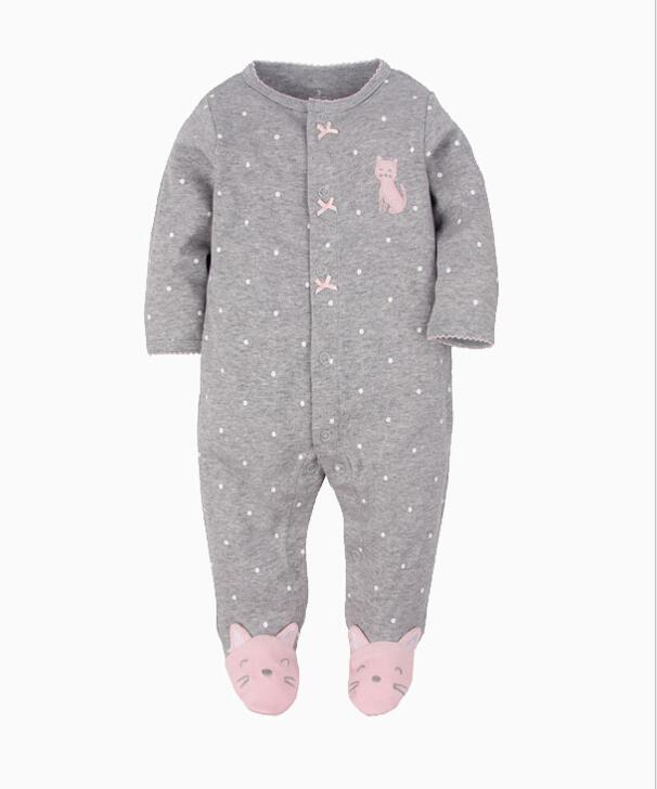 Baby Boy Snap-Up Grey Dots Print Cat Footed Cotton Long Sleeve One piece  (0-1Years)