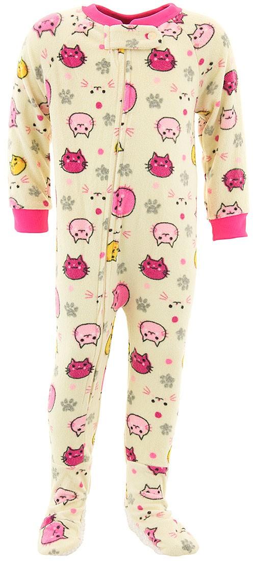 Mon Petit Girls Pale Yellow Cat Footed Pajamas