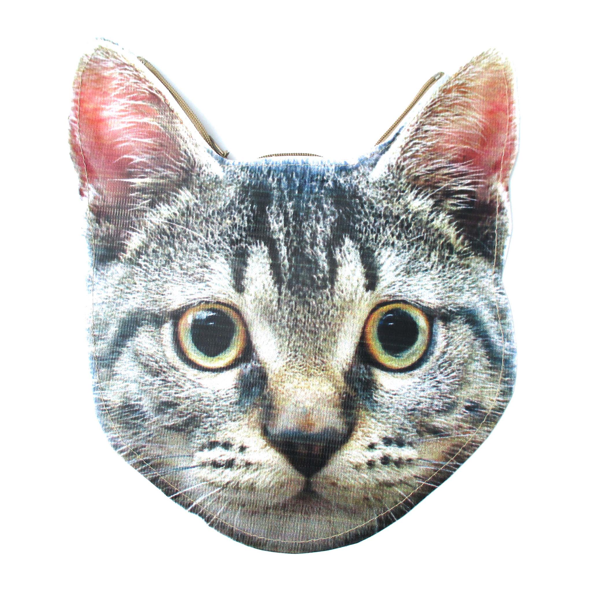 Grey Tabby Kitty Cat Head Shaped Vinyl Animal Photo Print Clutch Bag |  DOTOLY