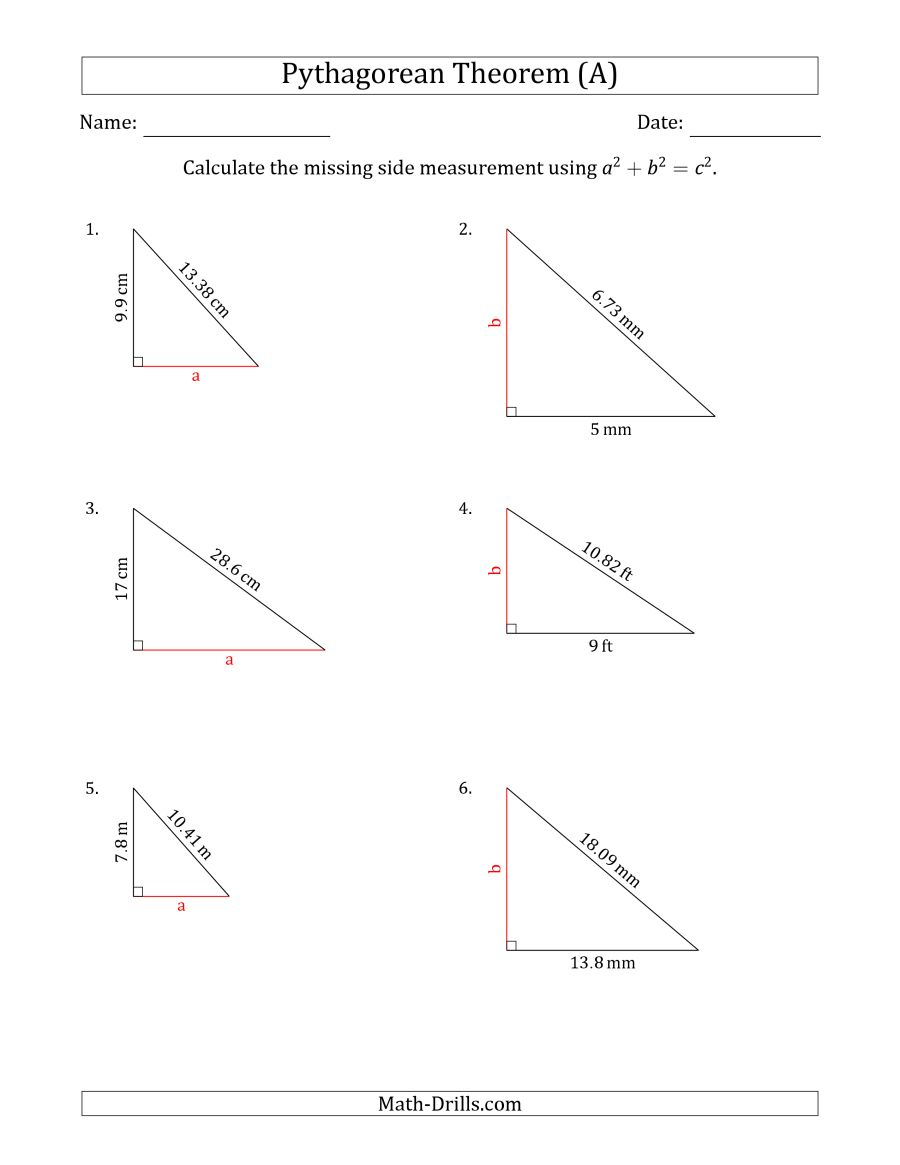 The Calculate a Cathetus Using Pythagorean Theorem (No Rotation) (A) Math  Worksheet