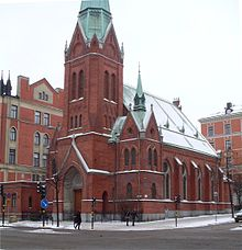 The former Catholic-Apostolic church in Stockholm, Sweden, built in  1889–90. Since the 1970s, it has served as a Greek Orthodox church.