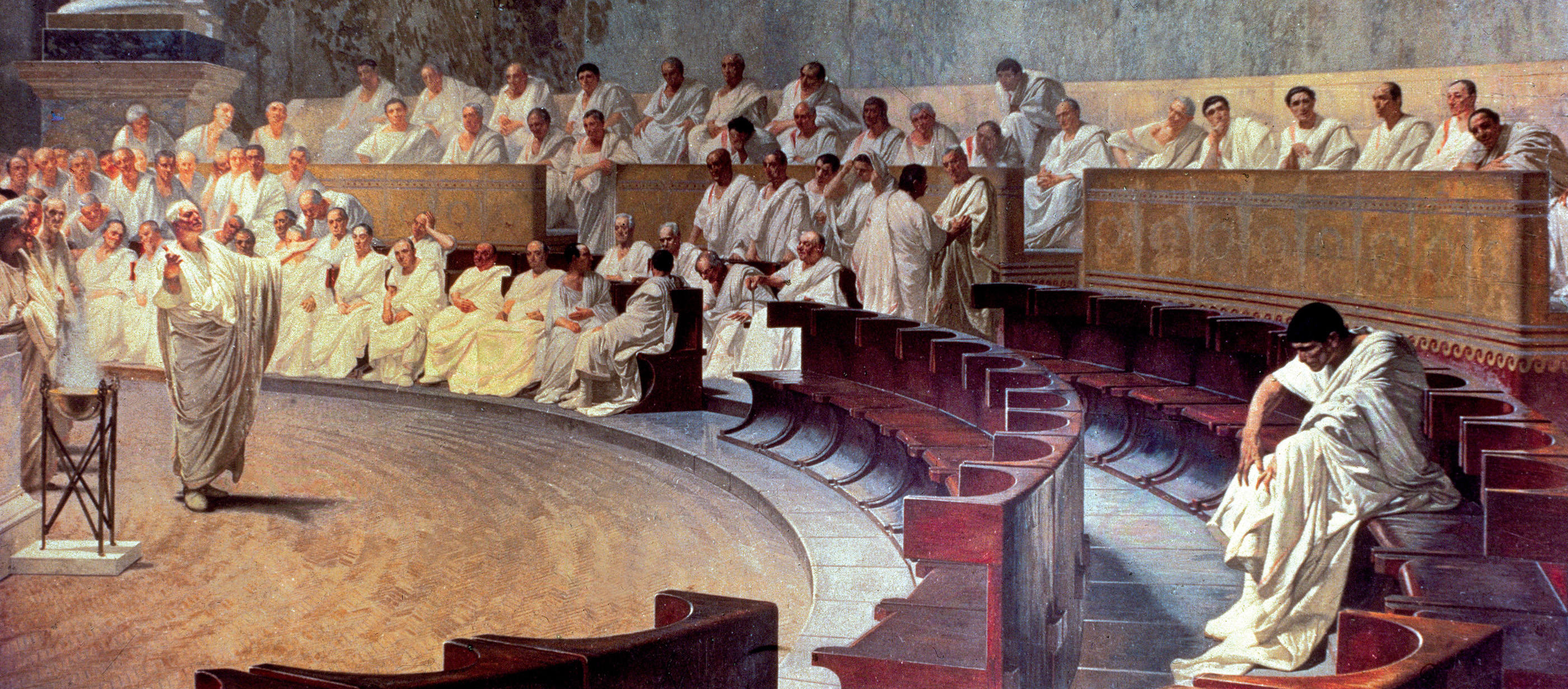 Cicero (106-43 BC) in the Senate Accusing Catiline of Conspiracy on 21st  October 63 BC, 1889 (fresco)