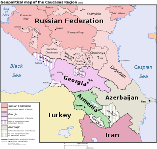 Political map of the Caucasus region (2008)