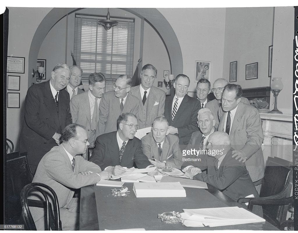 Prescott Bush Meeting with Fellow Senators : News Photo