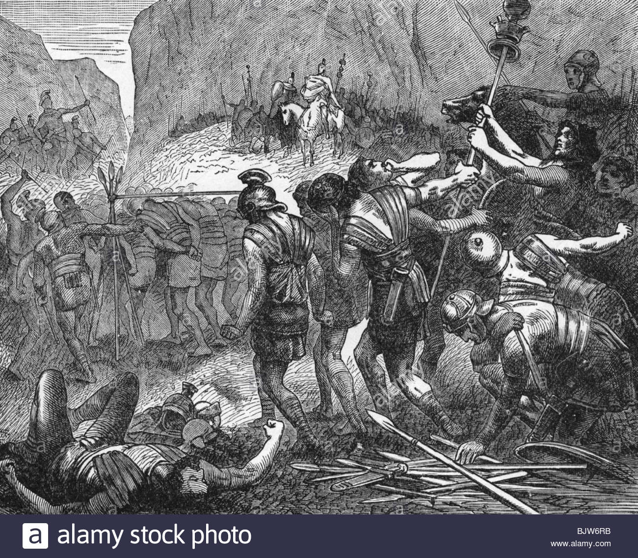 events, Second Samnite War 326 - 304 BC, Battle of the Caudine Forks, 321  BC, the defeated Romans passing under a yoke, wood engraving, 19th century,