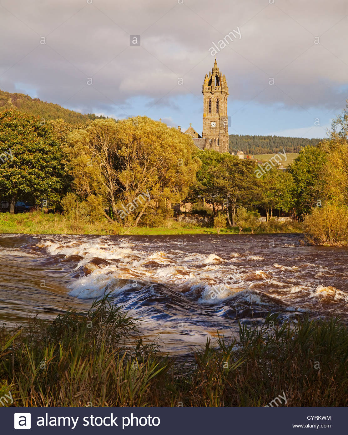 The Cauld (weir) on the River Tweed and Peebles Parish Church