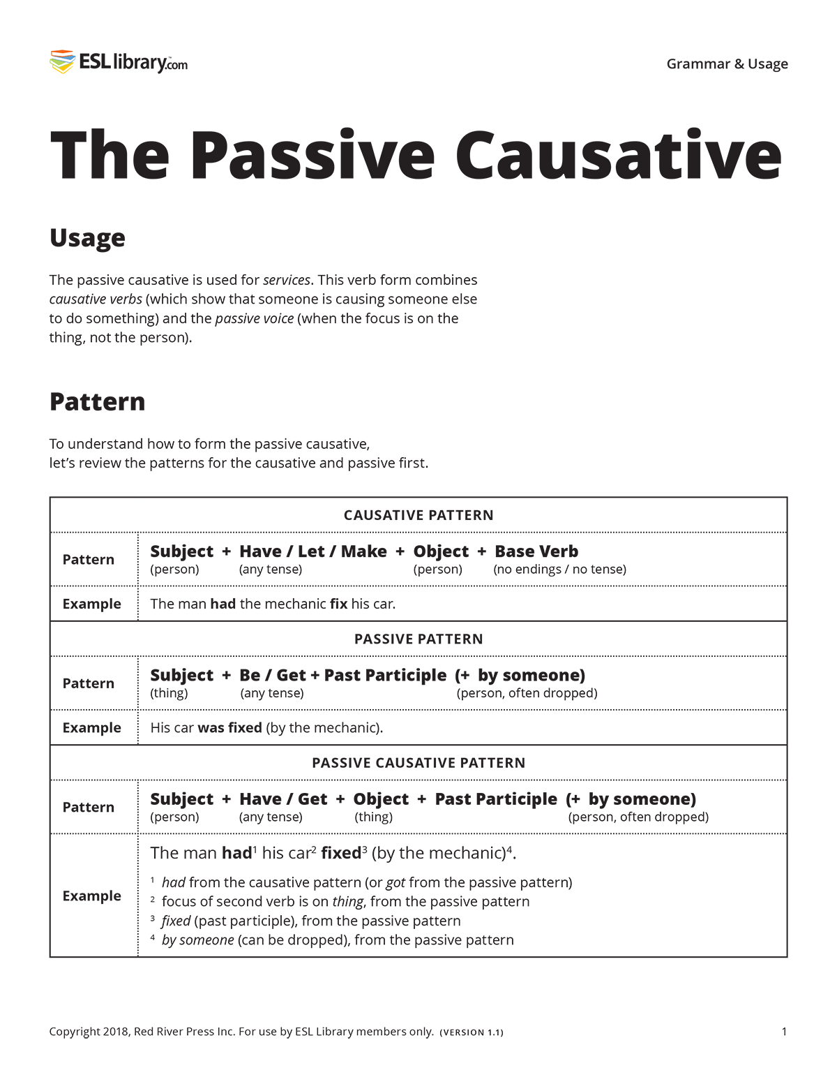 What is the passive causative?