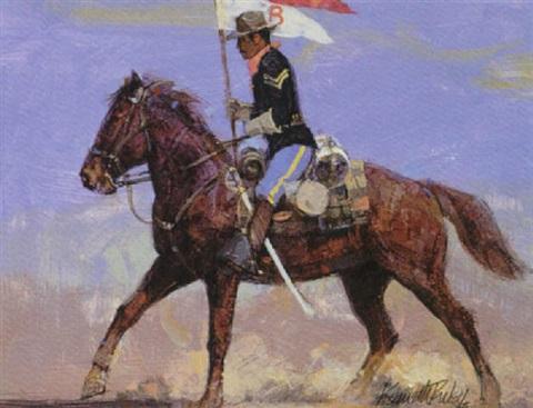cavalrymen on horseback with guidon by kenneth riley