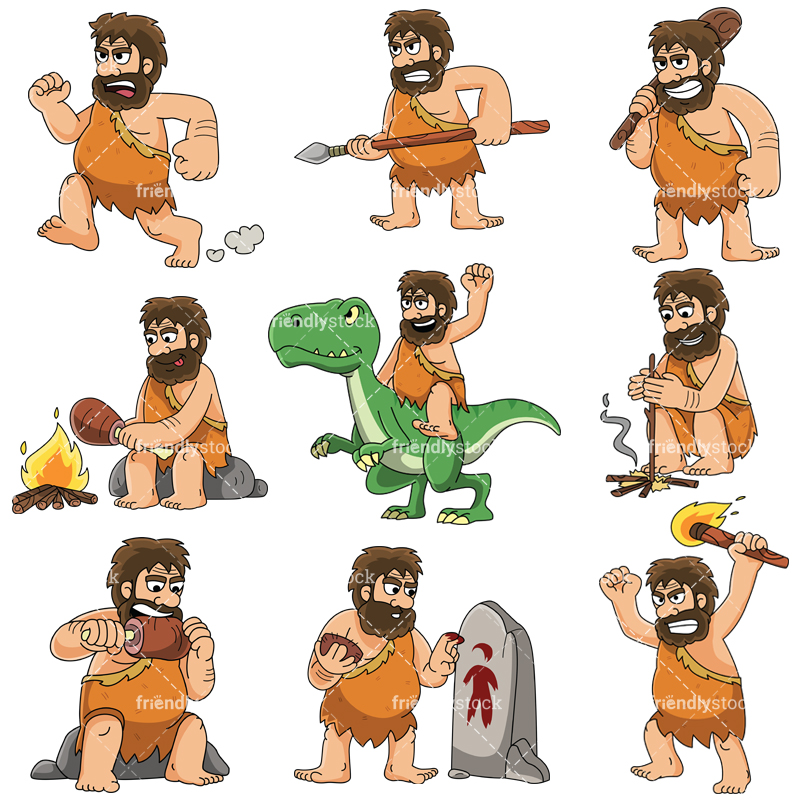 Prehistoric caveman - Images isolated on white background. Transparent PNG  and vector (infinitely scalable