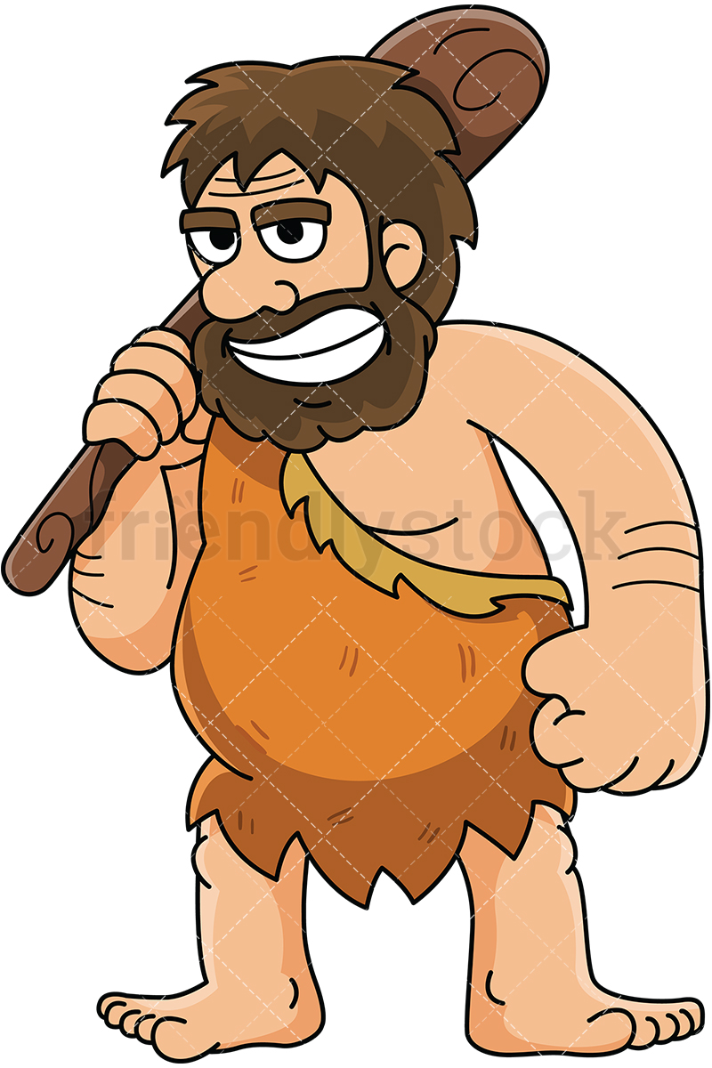 Caveman resting a bat on his shoulder - Image isolated on white background.  Transparent PNG