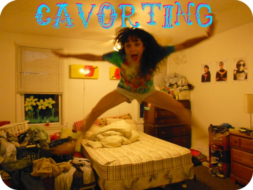 cavorting (kuh-vawrt-ing) v., Leaping or dancing about in a lively manner.