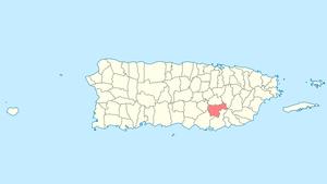 Location of Cayey in Puerto Rico