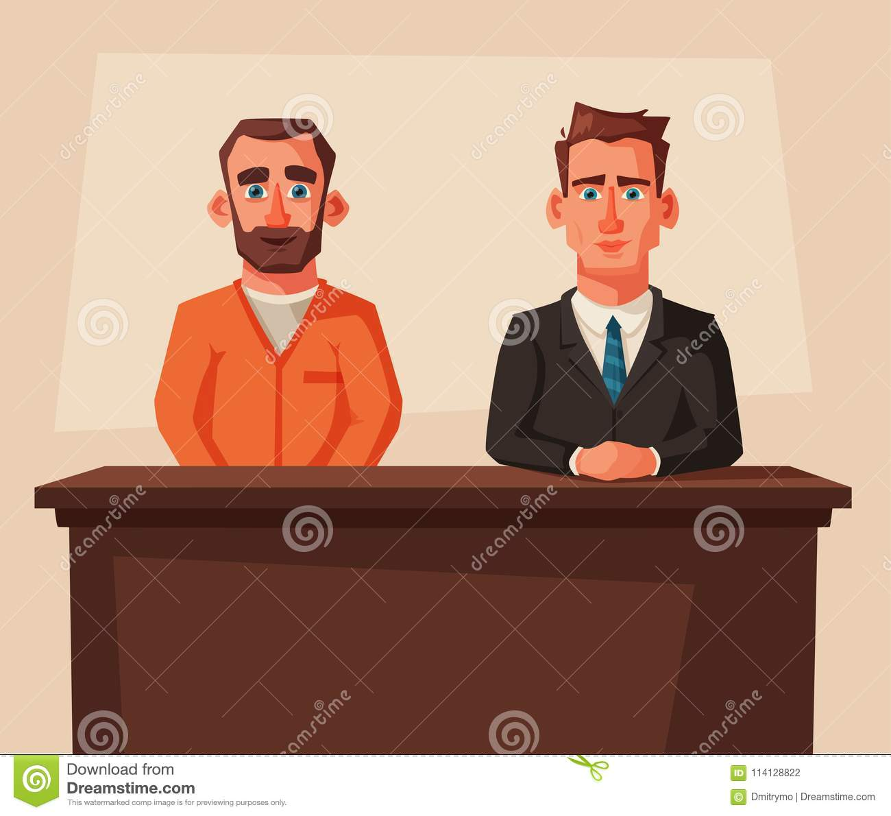 Serious lawyer sits by the table in courthouse with defendant. Cartoon  vector illustration. Character
