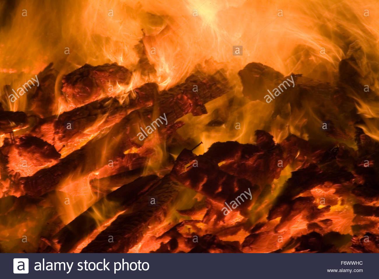Burning Wood - Stock Image